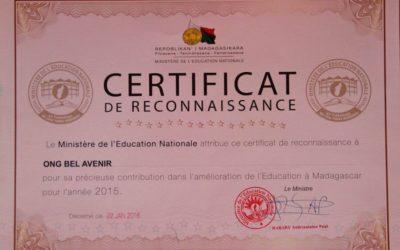 ¡Nos reconocen el trabajo que llevamos a cabo en Madagascar!