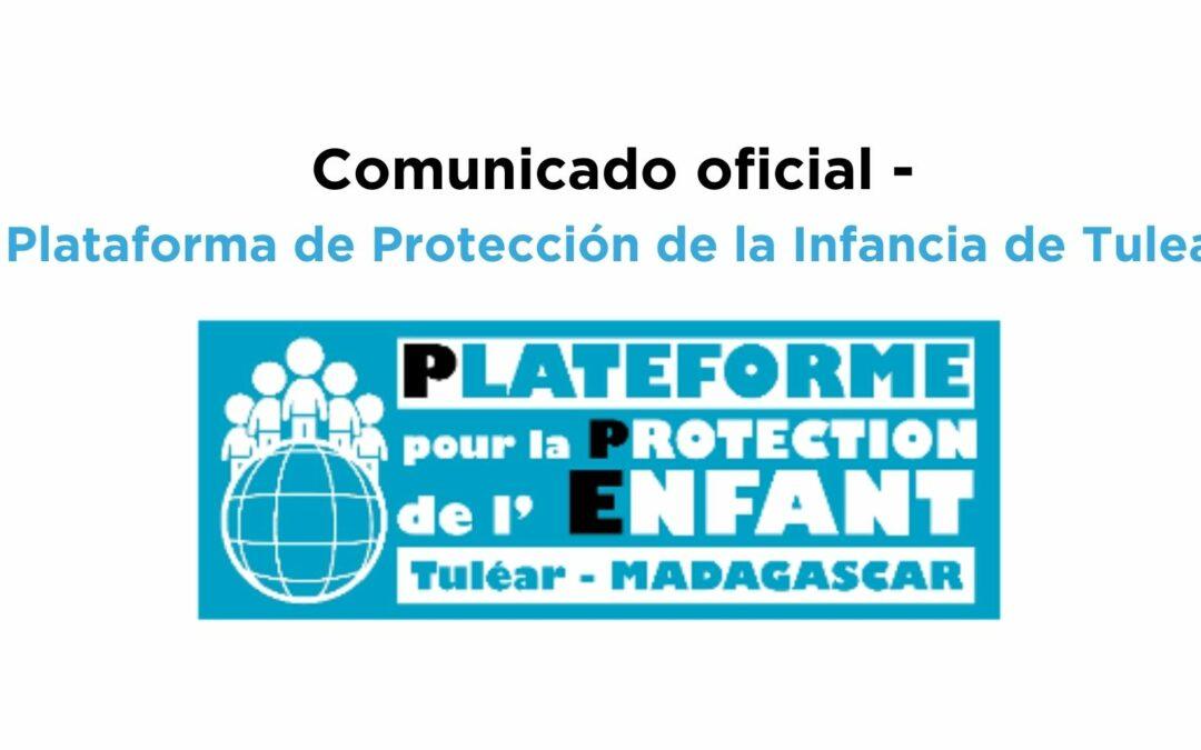 Comunicado – Plataforma de Protección de la infancia de Tulear