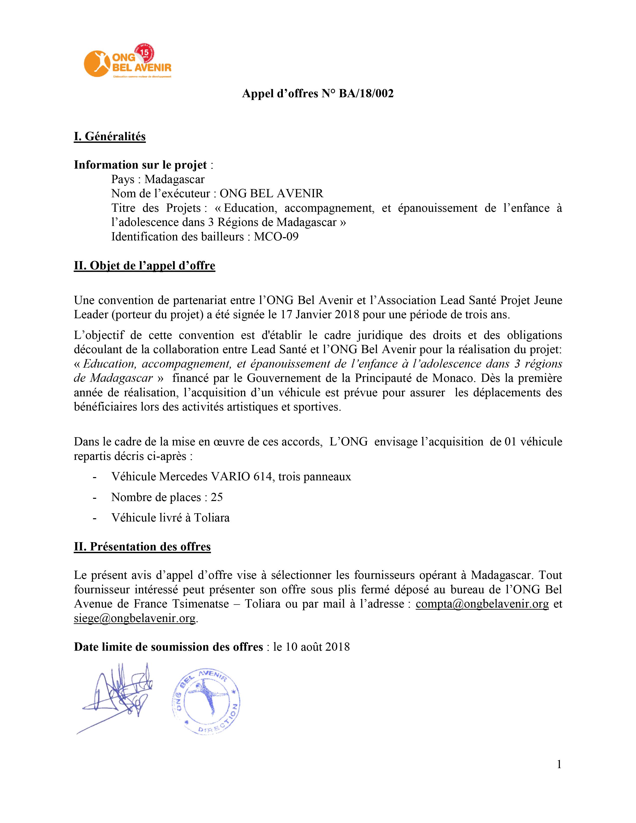 Appel d'offres N° BA/18/002