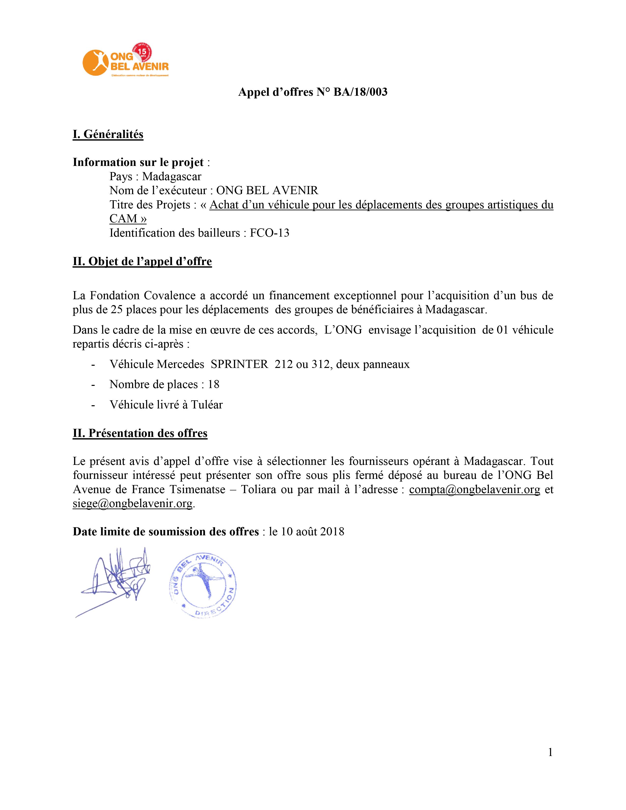 Appel d'offres N° BA/18/003